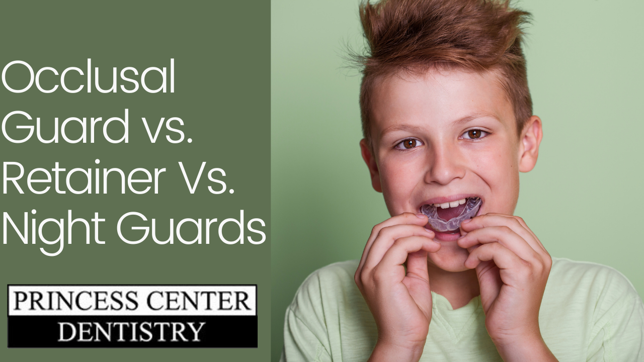 Boy placing night guard in mouth.